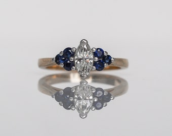 Circa 1980's Tiffany & Co .50ct Marquise Diamond Engagemeent Ring with Sapphires - VEG#375
