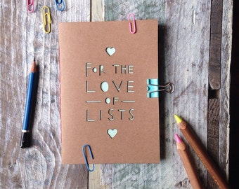 Handmade A6 Paper cut multicoloured and blank page notebook, for the love of lists, recycled, lists, gifts for her, stocking stuffer