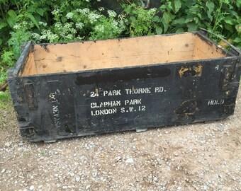 "Vintage Black Wooden Transport Storage Box ""Clapham Park London SW12"" ""T.T. Nevasa"""