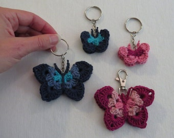 Crochet butterfly keychain. Crochet butterfly bag decoration/bag charm. Colorful crochet butterfly.