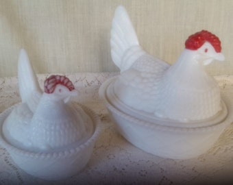 White Milk glass hens on nest covered bowls by Westmoreland