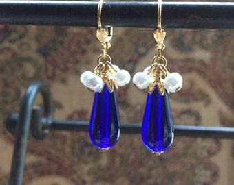 Blue Czech Glass Teardrop Earrings with Glass Pearl Cluster Dangles