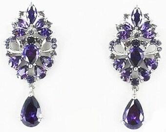New Amethyst Crystal & Rhinestone Chandelier 2 '' Pierced Earring