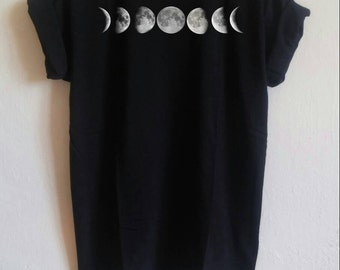 Moon Phases Tumblr Shirt, black Tumblr, blogger, hipster, grunge shirt