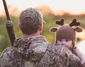 Deer Hat / Baby Winter Hat / Crochet Deer Hat with Antlers / Brown Earflap Hat / Halloween Costume /  Made to Order