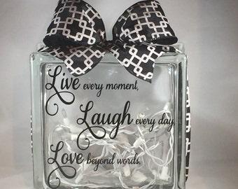 Live Love Laugh Lighted Glass Block Decorative Home Decor (8-inch)
