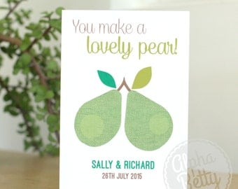 Personalised Wedding Card, Lovely Pear Wedding Card, Personalised Engagement Card, Wedding Card with Names, Wedding Card with Names and Date