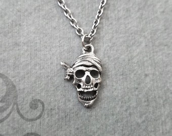Pirate Skull Necklace SMALL Pirate Charm Necklace Pirate Jewelry Skull Jewelry Pirate Pendant Necklace Halloween Jewelry Dead Pirate Gift