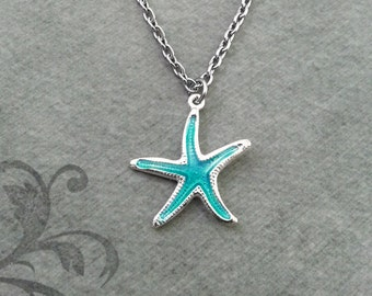 Blue Starfish SMALL Starfish Jewelry Beach Necklace Silver Necklace Teenage Girl Jewelry Bridesmaid Necklace Ocean Necklace Beach Jewelry