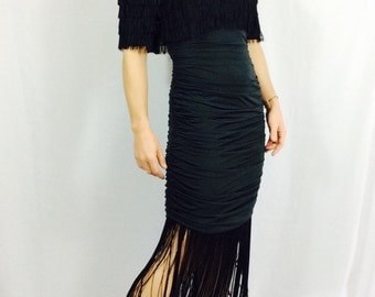 Vintage fringe dress black fronge dress vintage party dress Vintage Black Party dress little back dress xs black dress small black dress s
