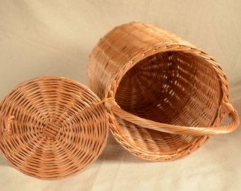 Round Wicker Basket, Basket with a Lid, Round Willow Basket, Round Basket, Round Lidded Basket, Jane Birkin Style Basket, Basket Purse