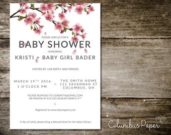 Cherry Blossom Baby Shower Invitation + Envelope (Set of 20)