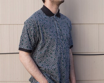 Vintage Men's Collared Shirt with Geometric Pattern