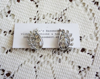 Vintage silver and rhinestone clip on earrings