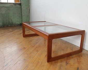 Danish Teak Glass Top Coffee Table by Komfort