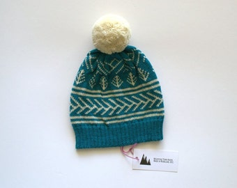 Fair Isle Wool Knit Hat with Cross Country Ski Tracks