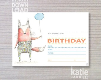 instant invitation -  kids invitation - fox invitation -  childrens invitation - fox invite