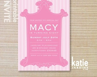 kids invitation - girls invitation - printable invitation -  pink invitation - teenager invitation
