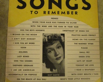 400 songs to remember sheet music with Mary Martin on the cover 1942