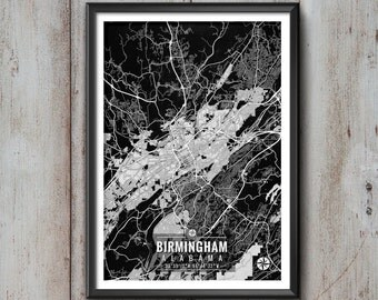 Birmingham Alabama Map with Coordinates, Birmingham Map, Map Art, Map Print, Birmingham Print, Birmingham Art, Birmingham Wall Art, Map