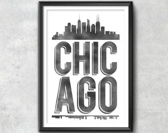 Chicago Typography Print, Chicago Print, Chicago Poster, Chicago Gift, Chicago Art, Chicago Pride, Chicago, Chicago Decor, Chicago Skyline