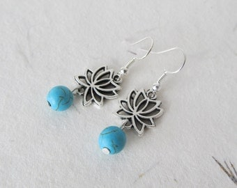Lotus earrings, howlite earrings, yoga jewelry