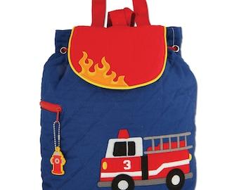 Firetruck Quilted Backpack Stephen Joseph Children's Backpack Toddler School Preschool Cute Fireman Bag