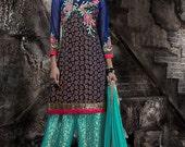 Navy Blue color Bhagalpuri fabric Patiyala Style Suit -Lawn Suits, Pakistani Lawn Suits, Anarkali suit, Vardhita sarees, Designer Suit