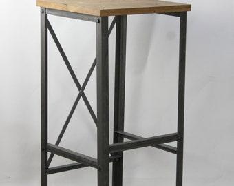 INDUSTRIAL Oak/Steel Stool, barstool, cafe, resturant, kitchen bar