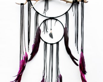 "Driftwood Dreamcatcher, Crow - 14"",  black leather dream catcher"
