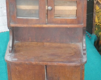 Antique European handmade wooden doll house furniture, big cabinet crockery