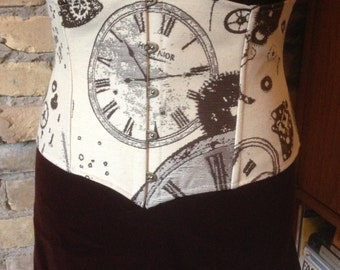 Clocks and Gears Under Bust Corset
