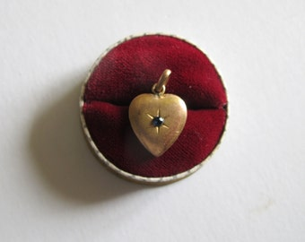 Antique French Victorian, Edwardian Heart pendant charm Gold Tone with real sapphire gemstone