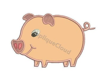 Pig applique design ~ Piggy applique pattern ~ INSTANT DOWNLOAD digital file
