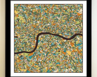 LONDON Map Art Print, Giclée Print, London Wall Art
