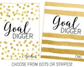 """Personalized Planner Cover """"Goal Digger""""  -Choose from Cover only or Cover Set -Fits Happy Planner, Big Happy Planner, or Erin Condren ECLP"""