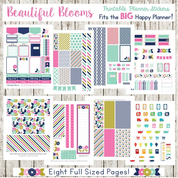 Beautiful Blooms - Fits The BIG Happy Planner (8.5 x 11)!  Printable Planner Stickers - 8 Full Pages!