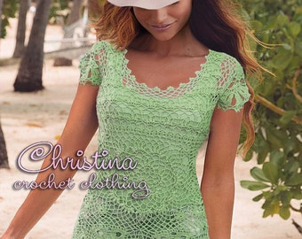 Crochet top blouse beach cover up lace tunic yellow FREE SHIPPING