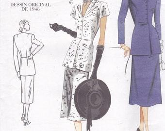 Vogue 1072 Vintage Pattern 1940s Reissue Womens 2 Piece Dress (Blouse and A Line Skirt) Size 12,14,16,18 UNCUT
