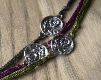 Thistle Wish Bracelet, Flower Charm Bracelet, Wish Charm, Simple Bracelet, Thistle, Garden Jewelry, Friendship Jewelry, Tiny Flower