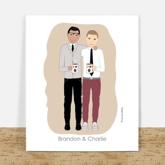 Wedding Presents For Gay Couples : Gift Personalized Couple Portrait Gay Couples Wedding Gift ...