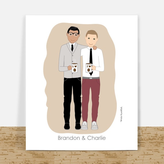 Gift Personalized Couple Portrait Gay Couples Wedding Gift ...