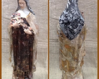 Decoupaged plaster religious statue, vintage French