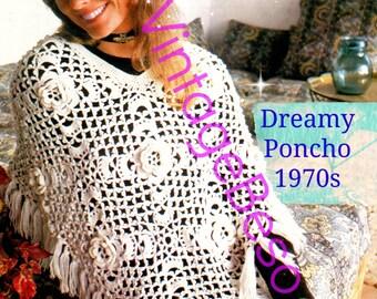 Dreamy Flowers Poncho Vintage Crochet Pattern Instant Download 1970s Retro Pdf Pattern