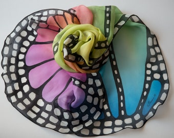 Hand painted silk scarf -The Rainbow butterfly wing- butterfly scarves- pure silk chiffon scarf- wings scarf-rainbow scarf