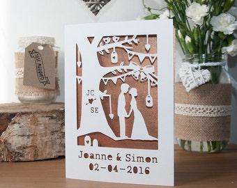 Personalised Wedding Card - Handmade Paper Cut - 5x7 Inches
