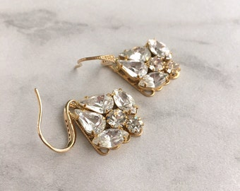 Crystal earrings - gold rhinestone earrings - bridal earrings - wedding earrings - gold bridesmaid earrings - gold earrings - Tessa earrings