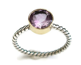 SALE 20% off Amethyst Stacking Ring Rope Detail Gold/Silver, February Birthstone Ring, Stacking Ring, Promise Ring, Mistry Gems, R19A