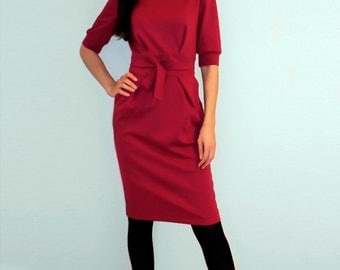 Red  dress Jersey dress Dress with pockets  Dress with long sleeves Autumn dress Casual dress