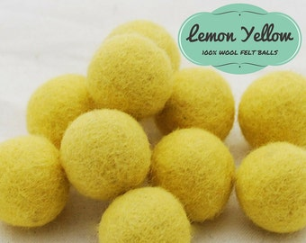 2.5cm Felt Balls, 100% Wool Felt Balls, Wool Felt Beads, 25 mm Lemon Yellow Felt Pom Poms, Bright Yellow Felted Balls,  Wool Felted Beads